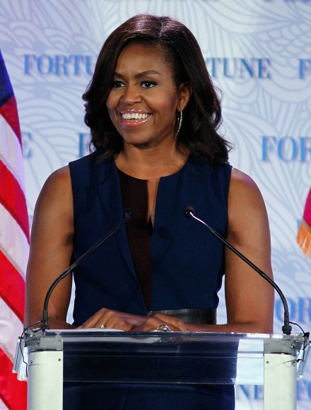WASHINGTON, DC - OCTOBER 13:  U.S. First Lady Michelle Obama speaks onstage during Fortune's Most Powerful Women Summit - Day 2 at The Robert and Arlene Kogod Courtyard on October 13, 2015 in Washington, DC.  (Photo by Paul Morigi/Getty Images for Fortune/Time Inc)
